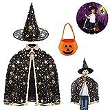Tuofang Mantello da Strega di Halloween, Halloween Costume Strega Bambina, Mantello da Mago per Bambini con Cappello y Borsa di zucca, per Festa di Cosplay di Halloween per Ragazzo e Ragazza (Nero)