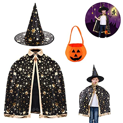 Tuofang Capa de Mago de Halloween para Ninos, Sombrero de Brujo de Halloween, Capa de Estrella con Sombrero, Bolsa de Caramelo de Calabaza, para Niños Niña Disfraz de Cosplay Fiesta (negro)