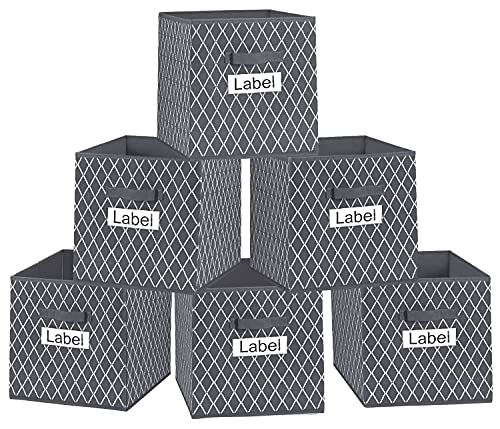 Grey Cube Storage Boxes 26x26x28cm for Kallax Shelving Unit, Foldable Open Storage Bins Baskets for Ikea Bookcase Shelves, Square Fabric Organiser Box for Clothes, Toys, Bedroom, Wardrobe (6pcs pack)