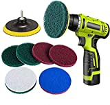 Drill Scouring Pads, Dyna-Living 8 Pieces Scrub Pads Drill Powered Brush Tile Pad Kit Scouring Pads Abrasive...