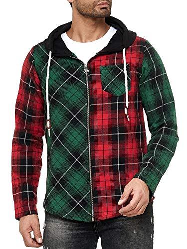 Red Bridge - Camisa Sudadera de leñador con Capucha a Cuadros de Colores para Hombres - Rojo