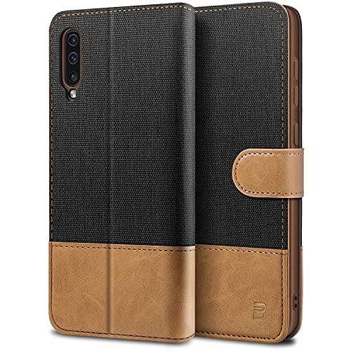 BEZ Handyhülle für Samsung Galaxy A50 Hülle, A30s Hülle, Tasche Kompatibel für Samsung Galaxy A50/ A30s, Schutzhüllen aus Klappetui mit Kreditkartenhaltern, Ständer, Magnetverschluss, Schwarz