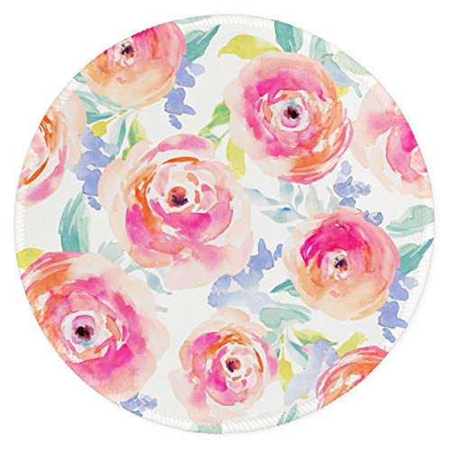 Auhoahsil Mouse Pad, Round Flowers Theme Anti-Slip Rubber Mousepad with Durable Stitched Edges for Gaming Office Laptop Computer PC Men Women Kids, Cute Custom Design, 8.7 x 8.7 in, Watercolor Rose