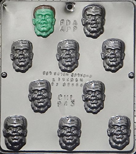 Candy Molds N More Halloween Frankenstein Face Chocolate Candy Mold, Item 943