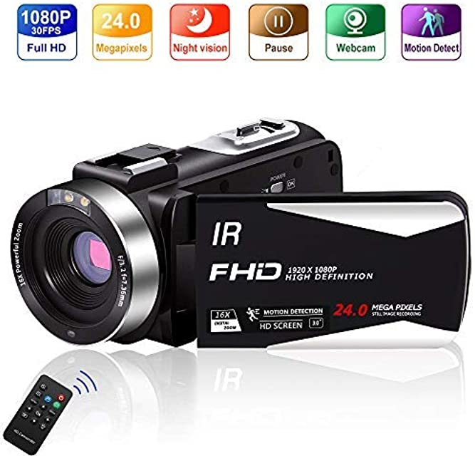 Videocámara Videocamara Full HD 1080P 30FPS 24.0 MP Video con Control IR Night Vision 3.0 Pulgadas IPS Pantalla 16X Zoom Camarasde Vlogging Cámara Remoto