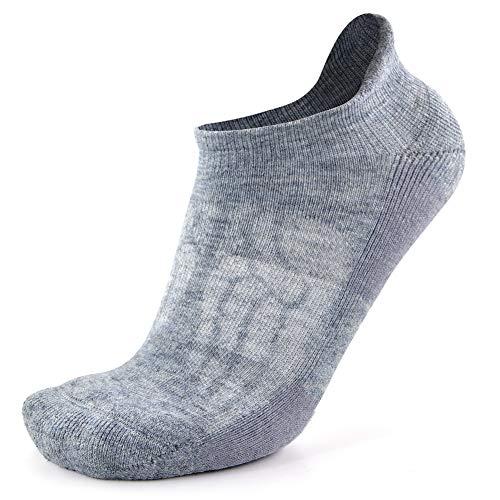 Mens Thick Wool Running Socks, Busy Socks Womens Spring Merino Wool Hidden Dry Cycling Moisture Wicking Athletic Socks, Light Grey, Large, 1 Pair