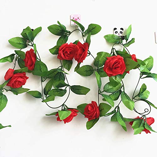 Mistari 250CM/lot Silk Roses Ivy Vine with Green Leaves for Home Wedding Decoration Fake Leaf DIY Hanging Garland Artificial Flowers- Artificial Flowers Plants- Artificial Plants-red