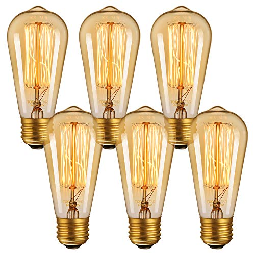 60W Equi. ST64 Retro Edison Filament Bulb with E26 Base, Vintage Squirrel Cage Light Bulbs, 5000K Daylight