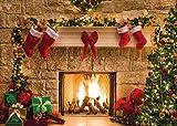 AIIKES 7x5FT Feliz Navidad Fondo Árbol Calcetín Regalo Fiesta Familiar Decoraciones Fondo Feliz año Nuevo Navidad Tema de la Chimenea Fotografía Fondo Banner Estudio Decoración Booth Props 11-209