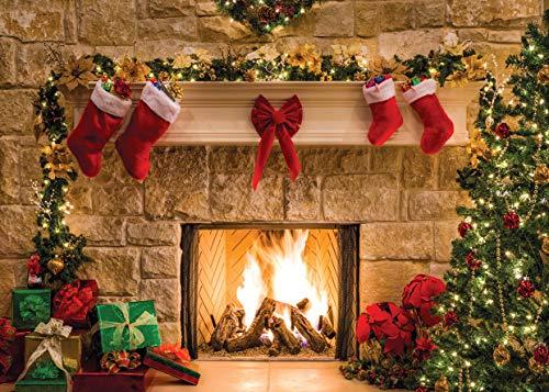 AIIKES 8x6FT Frohe Weihnachten Hintergrund Baum Socke Geschenk Familie Partydekorationen Kulissen Frohes Neues Jahr Weihnachten Kamin Thema Fotografie Kulissen Banner Studio Decor Requisiten 11-209