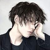 Pelucas de los hombres, los fuegos artificiales japoneses permanentes, el cabezal de los hombres, el pelo corto con flequillo y el pelo sintético resistente al calor. (Color : Cool brown)