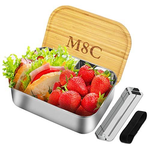 M8C BrotdoseEdelstahl, LunchboxAuslaufsicher mit Herausnehmbarer Trennwand, Eco Brotdose für Kinder und Erwachsene, Bento Boxen Große Brotbox zum Wandern/Reisen/Schule/Büro (1400ml(Bambusabdeckung))