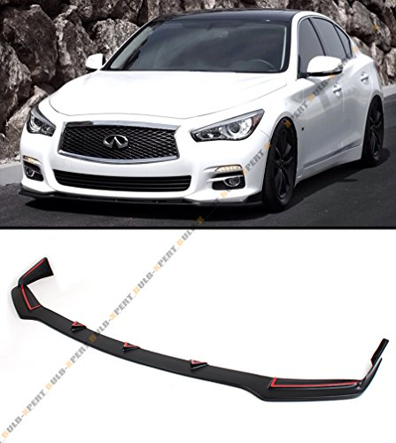 ECOTRIC Compatible Front Bumper Lip Chin/ Spoiler Splitter Replace For 2014 2015 2016 2017 Infiniti Q50 Base Premium JDM GT Style