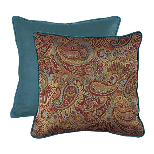 HiEnd Accents San Angelo Western Paisley & Teal Velvet Reversible Euro Sham Pillow Cover