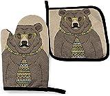 GOSMAO Juego de Manoplas para Horno y Soporte para ollas Whitetail Deer Painting Bear en Corbata y Vasos con Bigote Juego de...