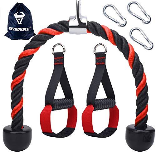 Cuerda Triceps Cuerda Para Empujar y Tirar Hacia Abajo de TríCeps Para Multi-Gimnasio y 2x Multifuncional, Cable de Agarre Potente Con Gancho de Seguridad,Combinaciones de Entrenamiento de Fuerza
