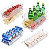StorageWorks Stackable Refrigerator Bin Set, Plastic Storage Bins for Fridge and Pantry, Clear Fridge Bin Kit, Freezer Cans of Soda Holder, Egg Storage Bin, BPA-Free, Set of 6, Assorted