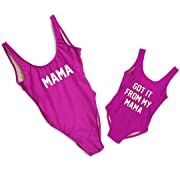 Mother Girl Swimwear Mommy and Me Matching One Piece Beach Wear Family Letters Print Sporty Monokini(Purple (Daughter), 1-2 T)