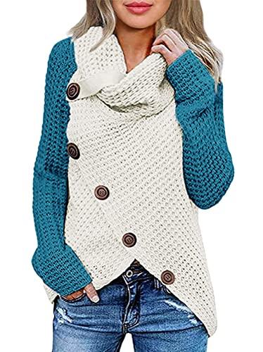 ORANDESIGNE Jerseys De Punto para Mujer Cuello de Tortuga Manga Larga Suelto Prendas de Punto Suéter Irregular Jerséis Collar de la Pila Tops Cálido Otoño Invierno D Azul Eléctrico L