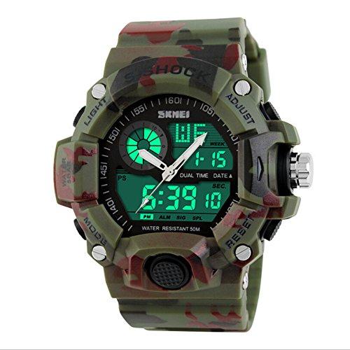 Highdas Multifunktion Herren Sportuhren Creative-Armbanduhr 6 Farben Camouflage grun