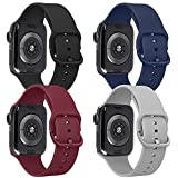 Tobfit 4 Pack Compatible for iWatch 42mm 44mm, Soft Sport Watchband Replacement for iWatch Series 6 5 4 3 SE (Black/Gray/Navy Blue/Wine Red, 42mm/44mm S/M)