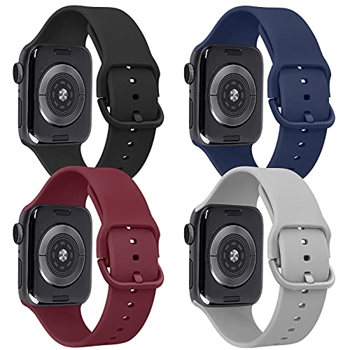 Tobfit 4 Pack Compatible with iWatch Bands 38mm 42mm 40mm 44mm, Soft Sport Replacement Band Compatible with iWatch Series 6 5 4 3 SE (Black/Gray/Navy Blue/Wine Red, 38mm/40mm S/M)
