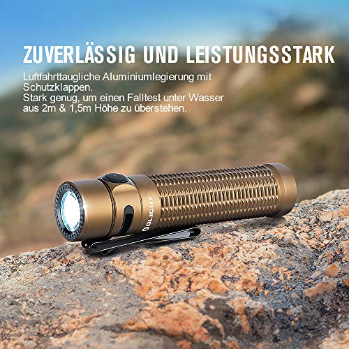 OLIGHT Warrior Mini EDC LED Torch 1500 Lumen 190 Range, IPX8 Rechargeable 5 Modes Tactical Torch for Outdoor Fishing Bicycle Hiking Camping Children (Desert)