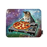 Mugod Pizza Cat Mouse Pad Delicious Food Hipster Cool Cat Galaxy Sparkling Stars Mouse Mat Non-Slip Rubber Base Mousepad for Computer Laptop PC Gaming Working Office & Home 9.5x7.9 Inch
