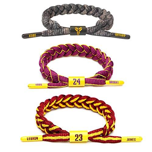 HONGFA Basketball Spieler Stern inspirierende persönliche Sterne Armbänder Hand weben verstellbare Sport Schnürsenkel Armband 3 Stück
