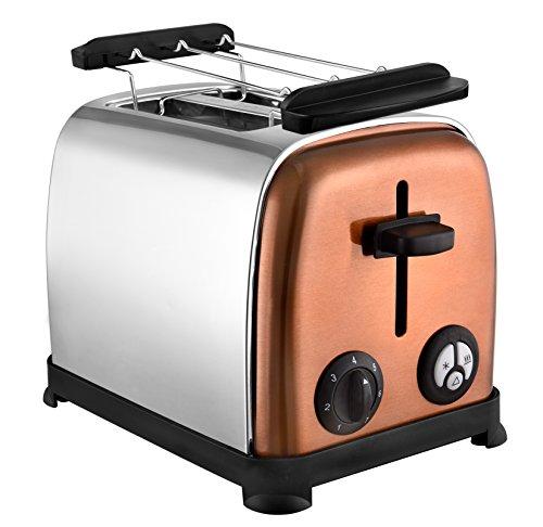 Kalorik Team 2-Scheiben-Toaster, Separater Brötchenaufsatz, Integrierte Krümelschublade, 800 W, Silber, TKG to 1050 CO, Metall, Kunststoff, Kupfer/Chrom