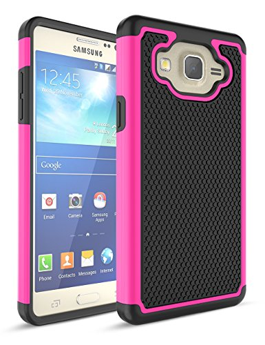 TILL for Samsung Galaxy On 5 Case, TILL(TM) [Hot Pink] [Shock Absorption] Dual Layer Hybrid Rugged Defender Soft Rubber & Hard Plastic Protective Grip Cute Case Cover for Samsung Galaxy On 5 G550