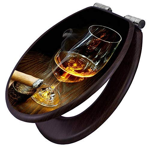 banjado Toilettensitz mit Absenkautomatik | WC-Sitz mit Motiv Whiskey & Cigar | Toilettendeckel MDF Holzkern | Klodeckel mit Metall Scharnieren
