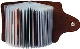 Kraptick Leather Credit Card Holder/Business Card Holder/ATM Card Holder for Women Men- Holds 24 Cards (Brown)