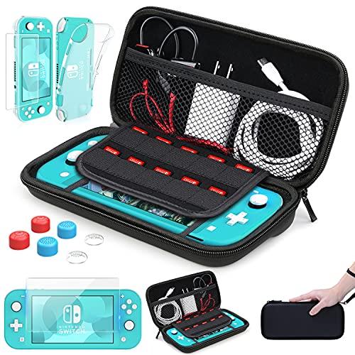HEYSTOP Tasche für Nintendo Switch Lite,TPU Hülle für Nintendo Switch Lite Zubehör,Switch Lite Hülle mit Bildschirmschutzfolie & Daumenkappen für Nintendo Switch Lite Konsole,Schwarz
