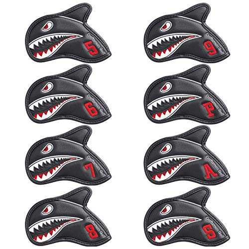 CRAFTSMAN GOLF Iron Covers Shark Embroideried with 3D Fin 8pcs Black Golf...