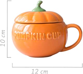 10 Oz Creative Design Lovely Pumpkin Shaped Orange Ceramic Coffee Milk Mug with Matching Lid and Spoon Tea Mugs Drinking Cup Perfect Birthday Christmas Present for Parent Friend Boy Girl