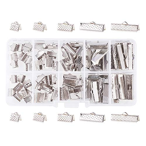 PandaHall Elite About 100 Pcs Iron Ribbon Bracelet Bookmark Pinch Crimp Clamp End Findings Cord Ends Fasteners Clasp Leather Crimp Ends Length 8mm 10mm 13mm 20mm 25mm for Jewelry Making Platinum