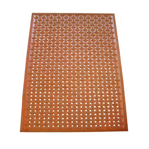 """Rubber-Cal 03-181-RE""""Kitchen Mat"""" Anti-Slip Grease Proof Chef Mats with Beveled Edge, 3/8"""" x 36"""" x 60"""", Red"""