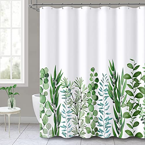 Green Leaf Urban Outfitters Shower Curtain Sets for Bathroom with 12 Hooks Pretty Succulent Greenery Eucalyptus Leaves 72'X72' Plant Bathroom