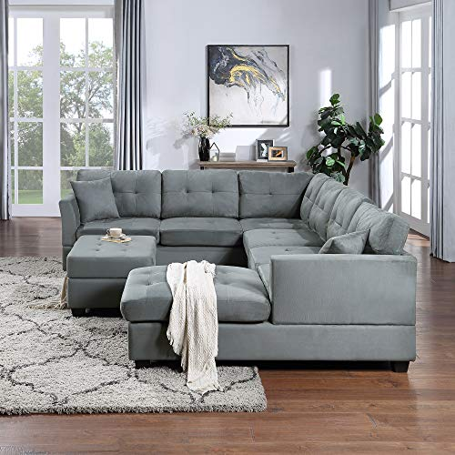 STARTO New Big Sectional 7-Seater Two Pillows,Living Room Furniture Sofa Set with Chaise Longue and Storage Ottoman, U-Shaped Upholstered Couch for Home, Apartments,Gray