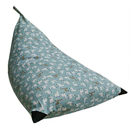 GeKLok Almacenamiento Bean Bag Kid om Silla de gran capacidad Sofá Triángulo Inicio a prueba de polvo para animales de peluche Organizador de juguetes Dormitorio impreso (azul)