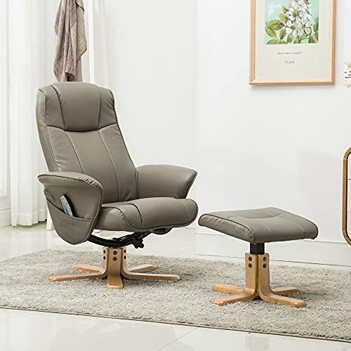 GFA Oxford Beheizter Massage-Drehstuhl mit Fußhocker, Grau