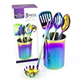 The Magical Kitchen Collection Iridescent Rainbow 5 Piece Set Cooking Utensils with Holder Accessories Include Spatula, Slotted Spoon, Solid Spoon, Spaghetti Server. Premium Grade Stainless Steel
