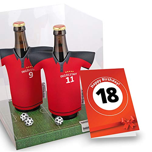 18. Geburtstag | Der Trikotkühler | Das Männergeschenk für Ingolstadt-Fans | Langlebige Geschenkidee Ehe-Mann Freund Vater Geburtstag | Bier-Flaschenkühler by Ligakakao