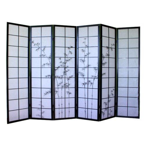 PEGANE Paravent Japonais en Bois Noir avec Dessin Bambou de 6 pans