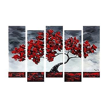 Sweety Decor Hang Painted Maple Tree Oil Painting Landscape Wall Artwork Decor 1232inch5pcs (art2, 12x32inchx5)
