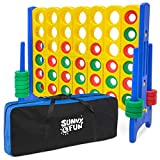 Sunny & Fun Giant 4 in A Row Color Connect w/ Storage Carry Bag – 4 Feet x 3.5 Feet Jumbo Life Size Four to Score Indoor & Outdoor Floor Game Set for Kids & Adults