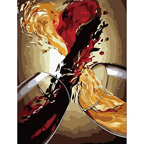 CHXFit Erwachsenenmalerei nach Zahlen DIY Abstrakter Wein Stillleben Leinwand Wohnkultur Kinder Kunst Bild Malerei Geschenk-50x65cm