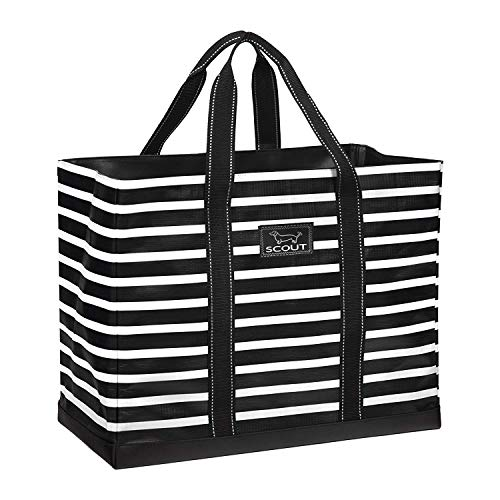 SCOUT Original Deano Tote, Large Utility Tote Bag for Women, Extra Large, Lightweight, Water Resistant Travel Beach Bag, and Pool Bag with Collapsible, Foldable Design Featured in Fleetwood Black
