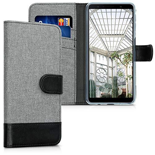 kwmobile Wallet Hülle kompatibel mit Samsung Galaxy A7 (2018) - Hülle Kunstleder mit Kartenfächern Stand in Grau Schwarz